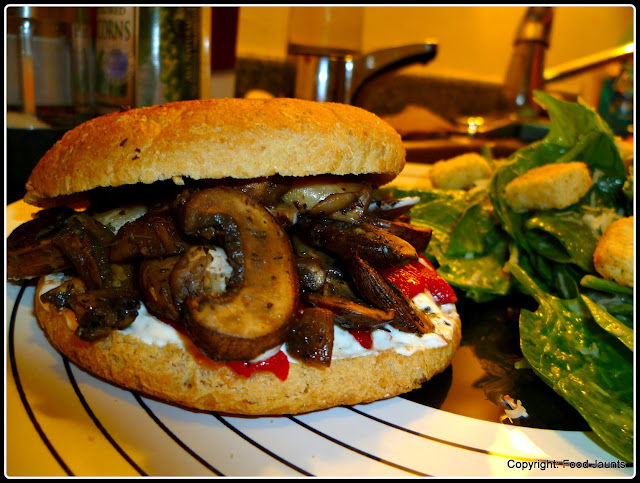 Roasted Mushroom and Goat Cheese Sandwich