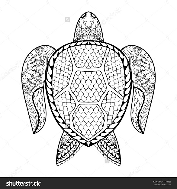 Hand Drawn Sea Turtle Mascot For Adult Coloring Pages In Doodle Inside  Amazing Sea Turtle Coloring