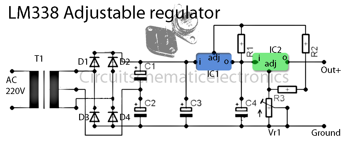 Lm338 Adjustable Power Supply Circuit Electronic Circuit