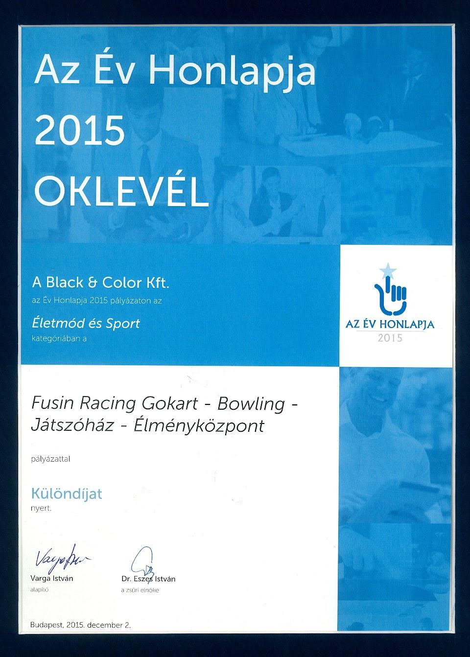 Az Év Honlapja díj - Fusion Racing