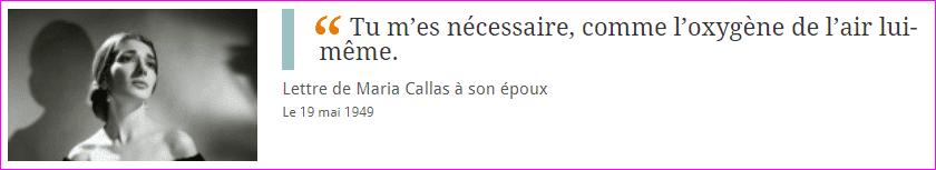 Lettre de Maria Callas
