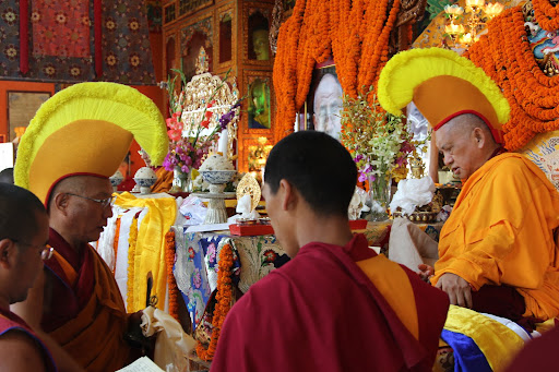 Dagri Rinpoche during long life puja offered to Lama Zopa Rinpoche, Kopan Monastery, June 2011.