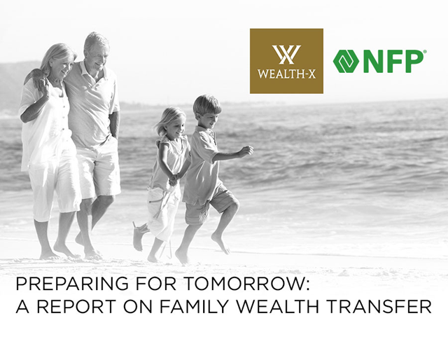 Cover of 'Preparing for Tomorrow: A Report on Family Wealth Transfer', a report by global wealth consultancy Wealth-X and insurance brokerage and consulting firm NFP. Graphic: Wealth-X / NFP