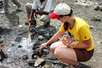 Boiling eggs in hot springs of lake Bogoria