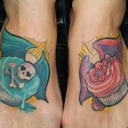 feet cupcake skull flower - tattoos for women