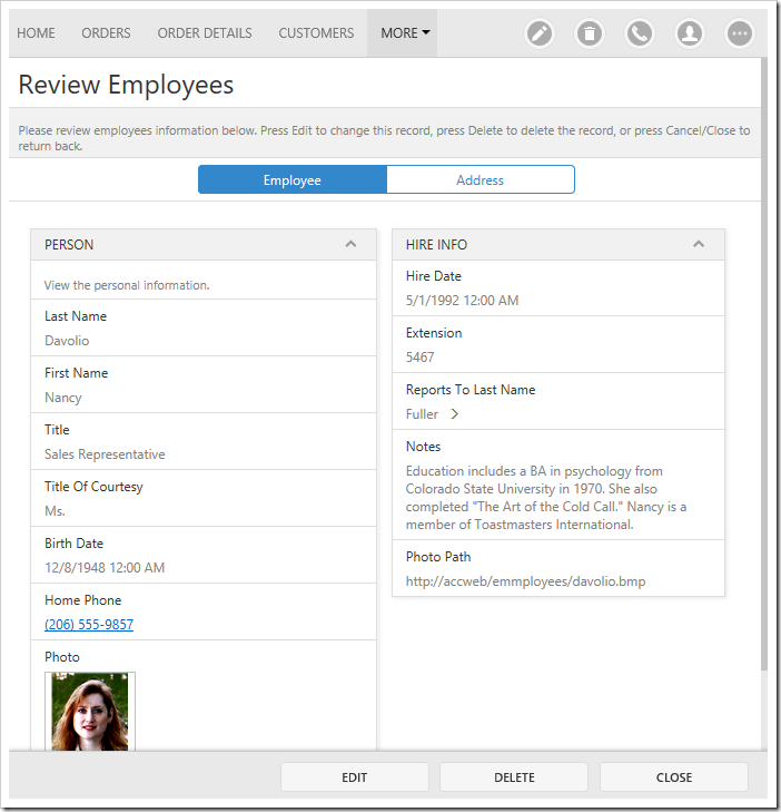 Two tabs are rendered in editForm1 of Employees page, with two columns in the first tab.