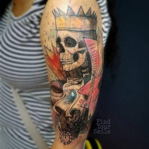 este_elegante_rei_crnio_aquarela_tatuagem
