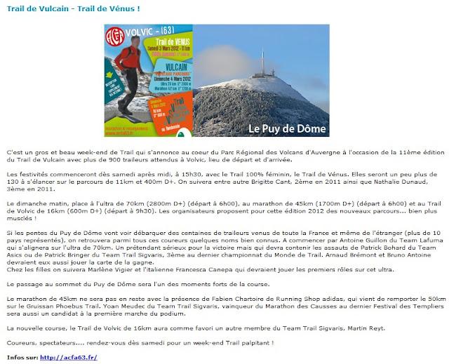 Article Génération-Trail du 01/03/12 - Trail de Vulcain