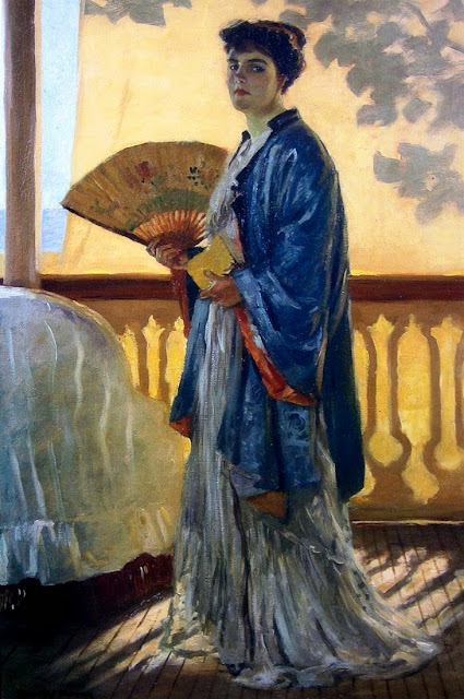 Rupert Bunny - The Fan (The Artist's Wife on the Balcony)