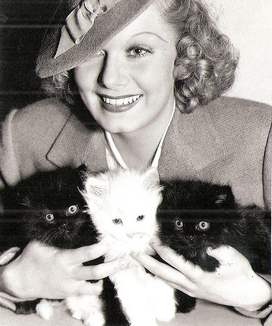 Jean Harlow and three kittens