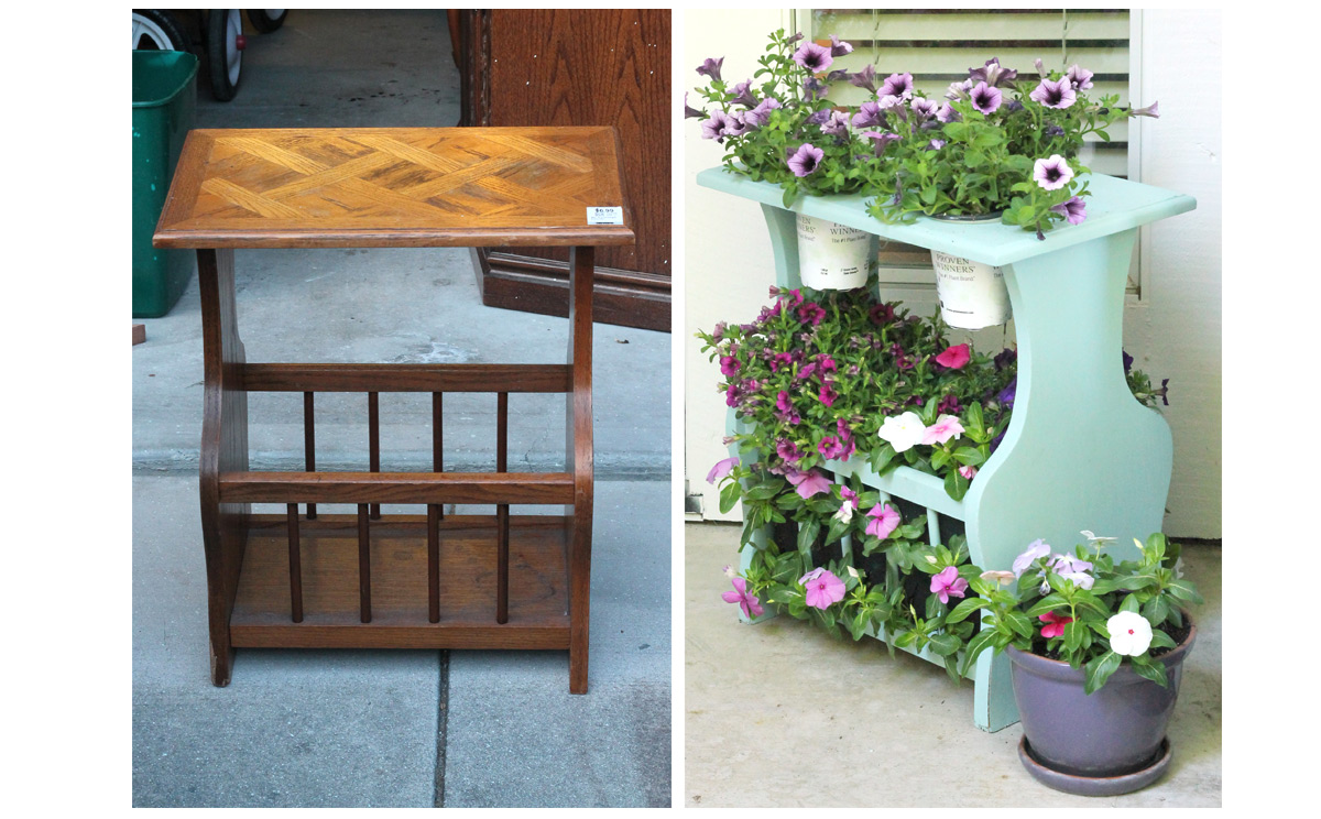 Before and after planter from table