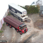 A photo of the London Brick mammoth Major (AEC2) and the Birds Eye ERF KV (ERF6) together.