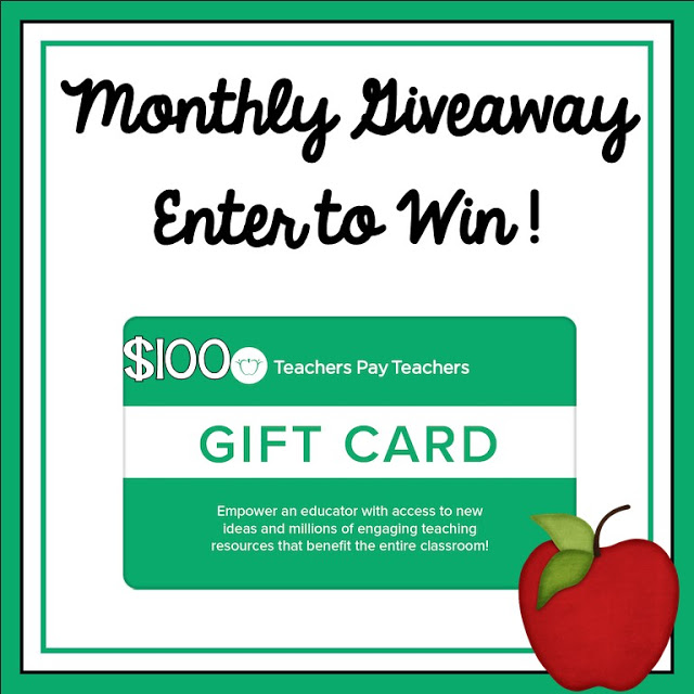 Monthly $100 Teachers pay Teachers Gift Card Giveaway