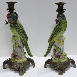 Ceramic Parrot Candle Holders