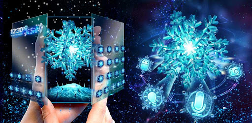 3D Frozen Snowflake Winter theme for PC