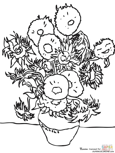 Top 10 Sunflowers By Vincent Van Gogh Coloring Pages