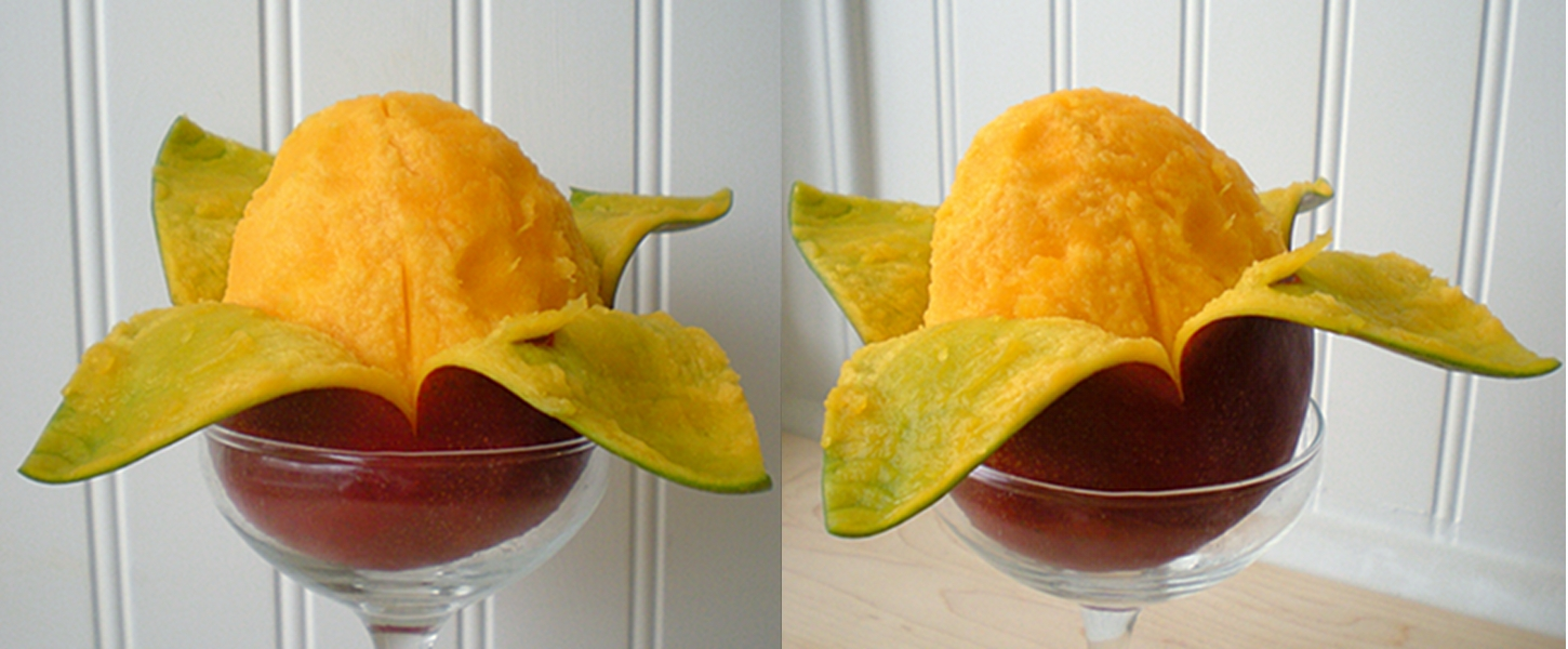 how to peel open a mango