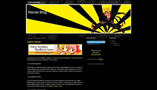 anime blogger template Naruto Blog