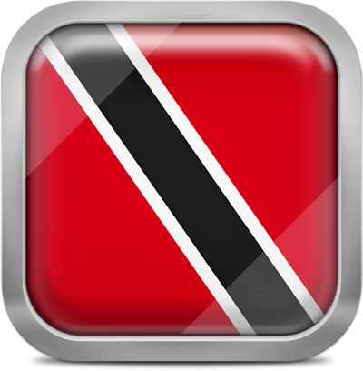 Trinidad and Tobago square flag with metallic frame