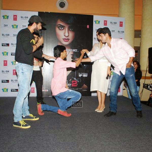 Jay Bhanusali, Surveen Chawla and Sushant Singh during the promotion of film Hate Story 2, in Mumbai. (Pic: Viral Bhayani)