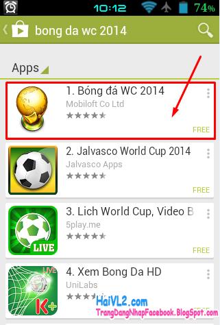 chọn ứng dụng bóng đá wc 2014 để theo dõi world cup