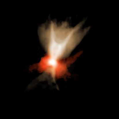 gás denso em torno da estrela