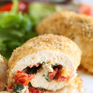 Chicken Rollatini with Sun Dried Tomato Bruschetta, Mozzarella and Spinach
