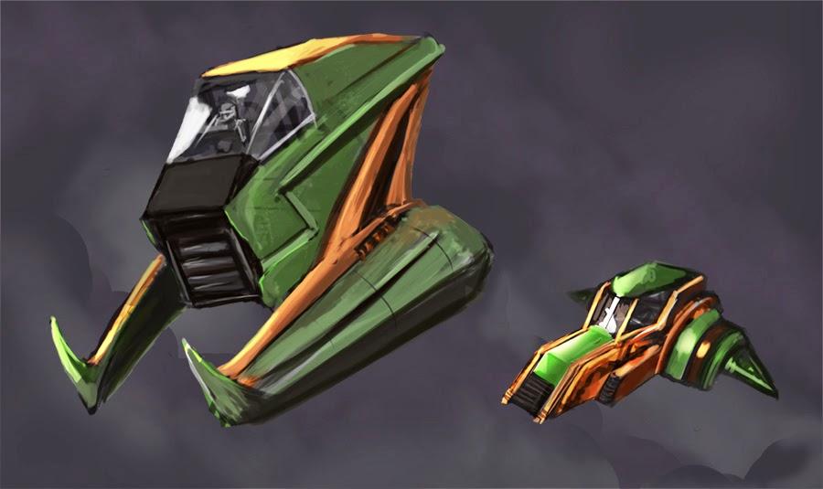 DSG 1669: Sci-Fi • AGGRESSIVE GREEN, ORANGE, & BLACK SINGLE-SEAT ANTI-GRAV SHIP