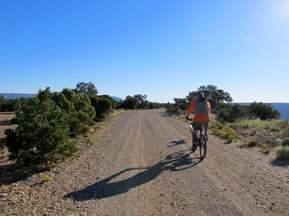 Riding toward the start of the singletrack