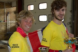 Women's race winner Kathy Bailey, Winchester AC and Matt Revier, Southampton AC men's winner with well-earned trophies