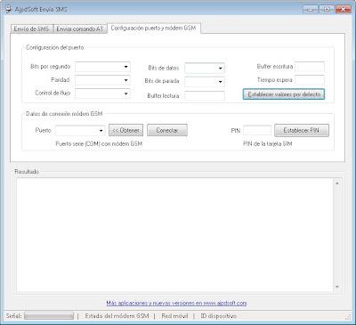La aplicación AjpdSoft Envío de SMS por GSM en funcionamiento