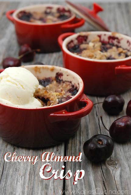 Cherry Almond Crisp + Le Creuset Giveaway - Katie's Cucina
