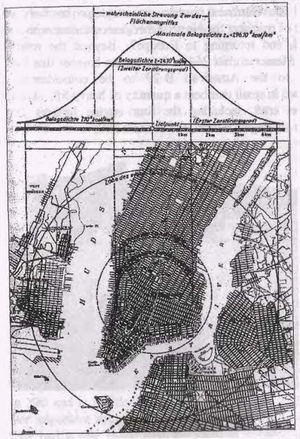 Схема-план возможных разрушений в Нью-Йорке в случае ядерной бомбардировки, нарисована в штабе германского Люфтваффе(OKL).