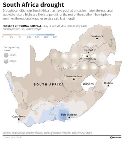 Severe drought conditions extend across South Africa and beyond during the southern hemisphere summer of 2016. Graphic: Reuters