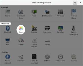 Configurar el hardware en GNOME. Gestión del color.