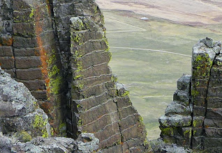 """Photo: A closer view of the layers - Crown Butte is made entirely of an igneous rock called """"porphyry"""" and it is also a """"layered igneous complex"""". Each layer is about a foot thick."""