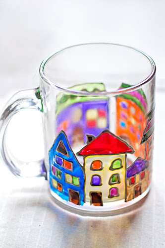 Handpainted Houses Mug by zmeyssHandMade