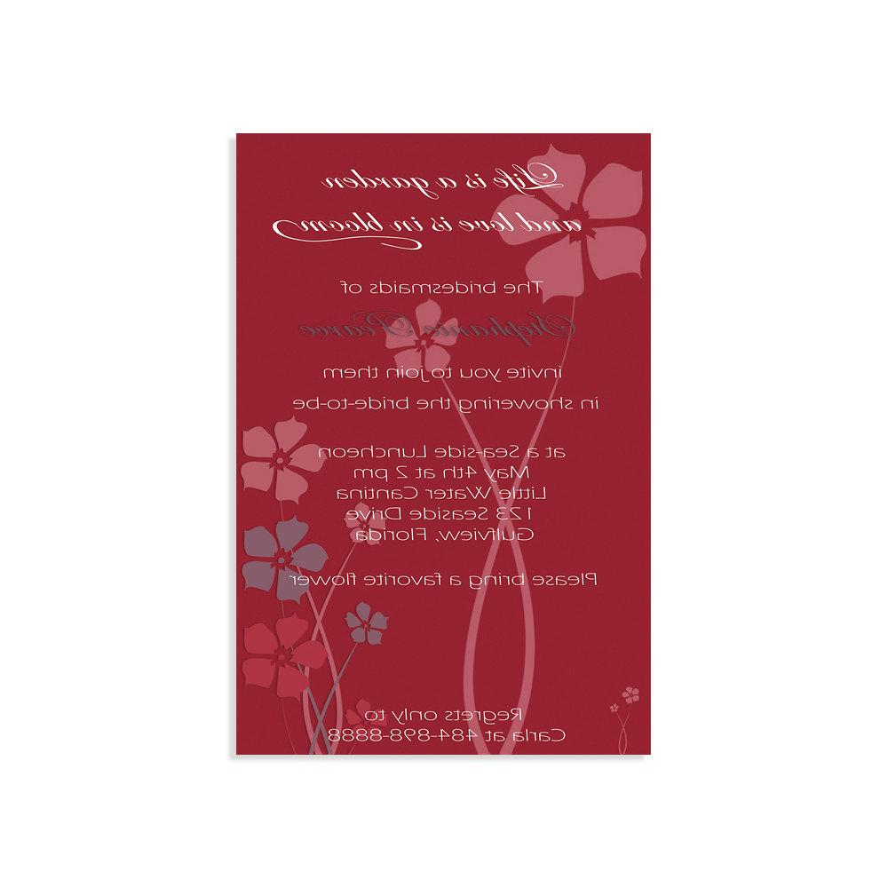Jasmin Red - Bridal Shower Invitations - Digital file, sent within 24 hours