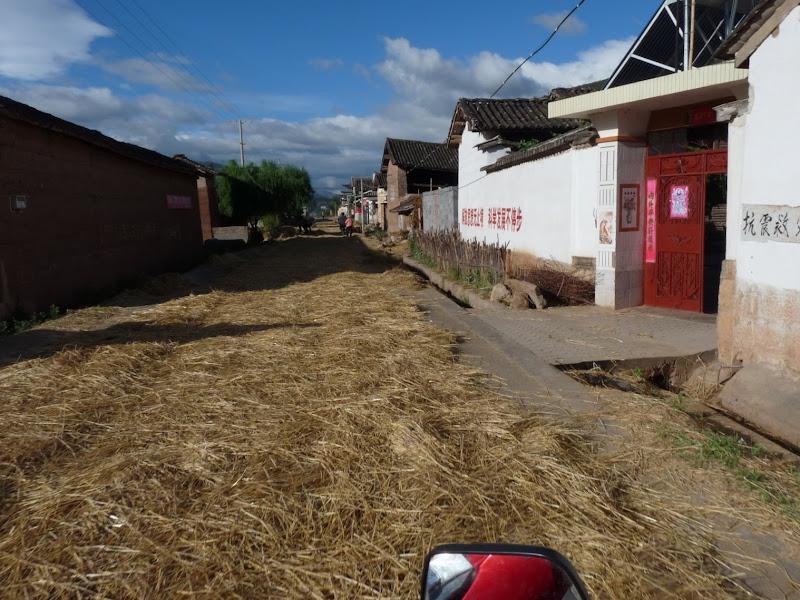 pas de place, le riz sèche sur les routes