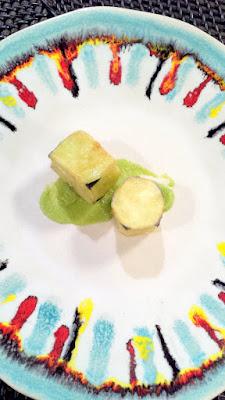 Flash fried Japanese eggplant in cornstarch with avocado salt yuzu juice