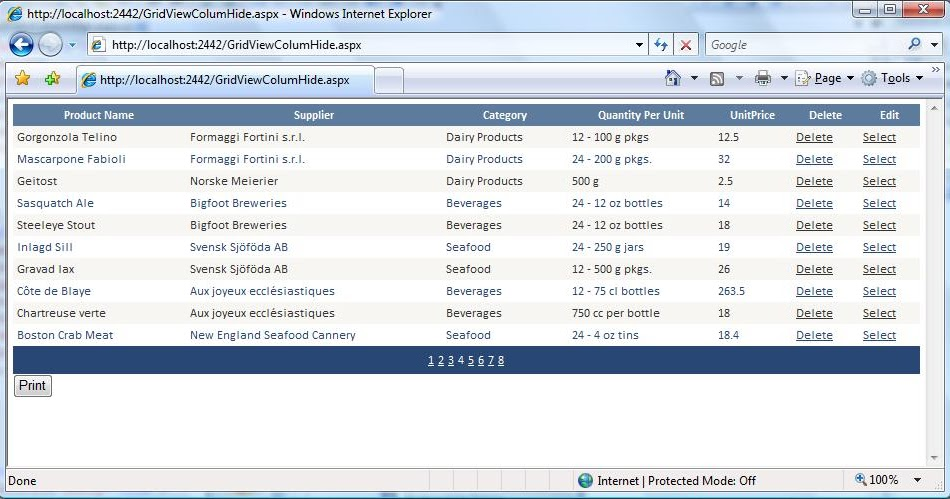 Adding & Removing GridView columns in the Print Preview using