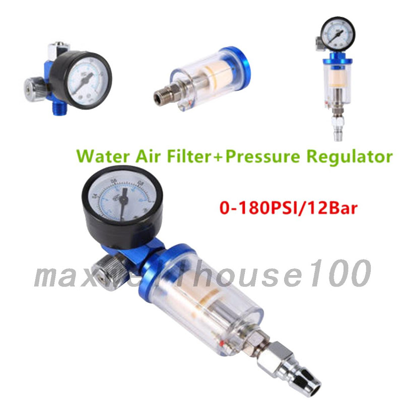 hot scratch doctor mini air pressure regulator gauge in line water trap fil. Black Bedroom Furniture Sets. Home Design Ideas