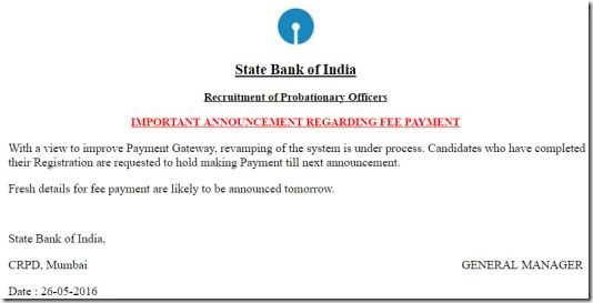 sbi-po-online-fee-payment-date-extended