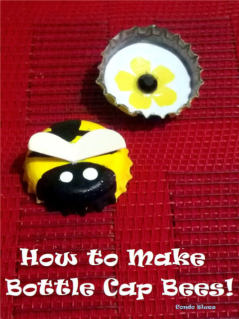 how to make bottle cap bees craft