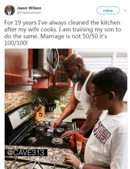 For 19 years I've always cleaned the kitchen after my wife cooks. I am training my son to do the same - Man claims