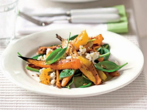 Caraway-roasted carrot and feta salad