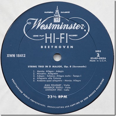 Westminster XWN 18412 S2 label