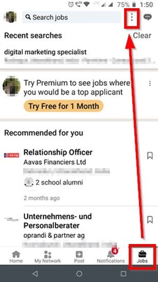 Can't Find Saved Jobs on the LinkedIn App