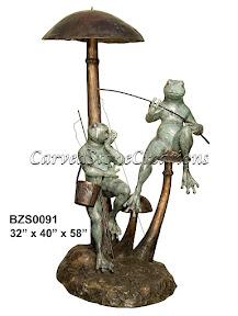 Bronze, Fishing, Fountain, Frog, Mushroom, Statue