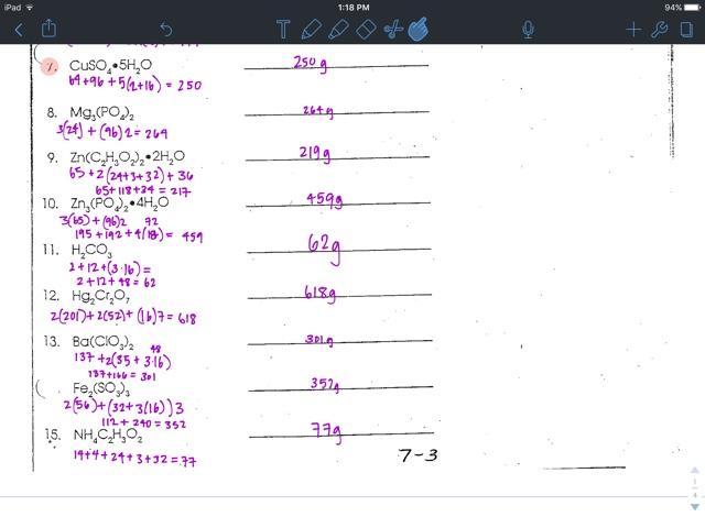 Liakeenerchemistry Gram Formula Mass Worksheet